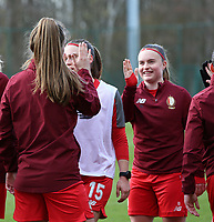 Sophie Cobussen (22) of Standard and Davinia Vanmechelen (25) of Standard give high five before  a female soccer game between Standard Femina de Liege and Sporting Charleroi on the 16th matchday of the 2020 - 2021 season of Belgian Scooore Womens Super League , saturday 13 th of February 2021  in Angleur , Belgium . PHOTO SPORTPIX.BE | SPP | SEVIL OKTEM