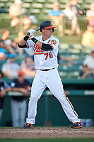 Baltimore Orioles third baseman Ryan Mountcastle (76) at bat during a Grapefruit League Spring Training game against the Detroit Tigers on March 3, 2019 at Ed Smith Stadium in Sarasota, Florida.  Baltimore defeated Detroit 7-5.  (Mike Janes/Four Seam Images)
