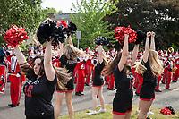 Cheerleaders, Ballard High School Marching Band, 17th of May Parade 2016, Seattle, WA, USA.