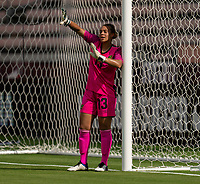 HOUSTON, TX - JUNE 10: Rebecca Spencer #13 of Jamaica organizes her defense during a game between Nigeria and Jamaica at BBVA Stadium on June 10, 2021 in Houston, Texas.