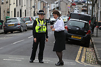 Pictured: Deputy Chief Constable of Gwent Police Pam Kelly (R) visits the police cordon at West Street, Newport, south Wales, UK. Wednesday 20 September 2017<br /> Re: Two men have been arrested in south Wales over Friday's terror attack on a London Underground train, bringing the total number held to five.<br /> Two men, one 48 and the other 30 were detained under the Terrorism Act in the early hours, after a search at an address in Newport.<br /> Police are still searching there, and at a second address in Newport.<br /> Thirty people were injured when a homemade bomb partially exploded on a rush-hour Tube train at Parsons Green in south-west London.