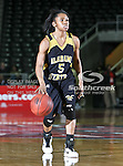 Alabama State Hornets guard LeEra Lewis (5) in action during the SWAC Tournament game between the Southern Lady Jaguars and the Alabama State Hornets at the Special Events Center in Garland, Texas. Southern defeats Alabama State 58 to 39.