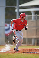 Ball State Cardinals catcher Erek Bolton (11) runs to first base during a game against the Mount St. Mary's Mountaineers on March 9, 2019 at North Charlotte Regional Park in Port Charlotte, Florida.  Ball State defeated Mount St. Mary's 12-9.  (Mike Janes/Four Seam Images)