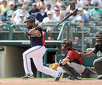 15 March 2009: Infielder Diory Hernandez (63) of the Atlanta Braves hits in a game against the Houston Astros at the Braves' Spring Training camp at Disney's Wide World of Sports in Lake Buena Vista, Fla. Photo by:  Tom Priddy/Four Seam Images