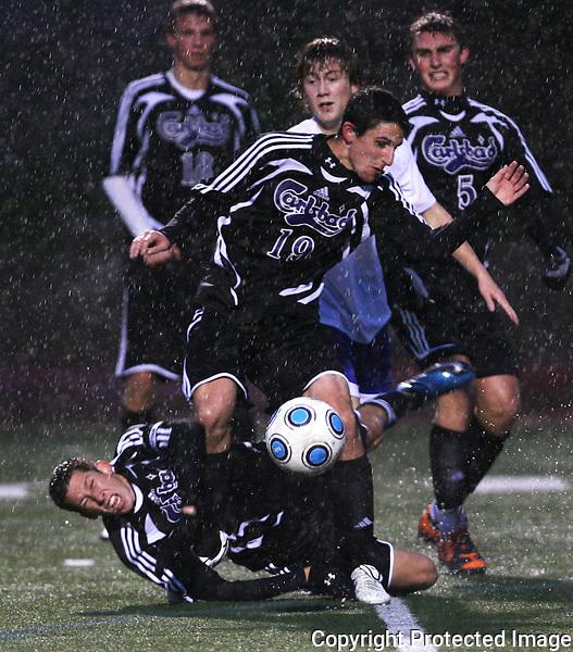 Carlsbad High School playing Rancho Bernardo High School in the rain in 2010.  photo for North County Times