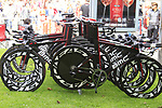 BMC Racing Team bikes lined up before the Prologue of the 99th edition of the Tour de France 2012, a 6.4km individual time trial starting in Parc d'Avroy, Liege, Belgium. 30th June 2012.<br /> (Photo by Eoin Clarke/NEWSFILE)