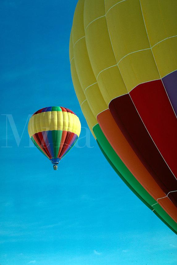 Hot air balloons ascending. Utah.