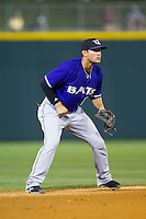 Louisville Bats shortstop Kristopher Negron (17) on defense against the Charlotte Knights at BB&T Ballpark on June 26, 2014 in Charlotte, North Carolina.  The Bats defeated the Knights 6-4.  (Brian Westerholt/Four Seam Images)