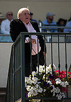 HALLANDALE BEACH, FL - March 31: Dan Hurtak talks home Conquest Big E in the 71st Running of the Hardacre Mile at Gulfstream Park on March 31, 2018 in Hallandale Beach, FL. (Photo by Carson Dennis/Eclipse Sportswire/Getty Images.)