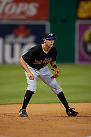 West Virginia Black Bears third baseman Zack Kone (26) during a NY-Penn League game against the Batavia Muckdogs on June 25, 2019 at Dwyer Stadium in Batavia, New York.  Batavia defeated West Virginia 7-3.  (Mike Janes/Four Seam Images)