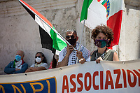 """Rome, Italy. 29th May, 2021. Italian Antifascist organizations, Antifascist political parties, Trade Unions, Palestinian Community of Rome (Comunità Palestinese di Roma), WWII Partizans, citizens, led by ANPI (National Association of Italian Partizans, Members of the WWII Italian Resistance, 1.), held an emergency rally against a fascist demo held in a Central-Rome-nearby-square which was authorized by State Institutions with no regard for the Italian Antifascist Constitution and all the Victims of nazi and fascist regimes, including all the Victims of nazi and fascist concentration camps. From the ANPI press release: «The Anti-fascist associations of the Italian Resistance and the Liberation Struggle, with political, trade union and organizations, express indignation at the national demo promoted in Rome in Piazza SS Apostoli on May 29, 2021 by Casapound, launched using shamelessly nazi slogans such as that of """"blood and soil"""", referring to the same words of Hitler, Himmler and Goebbels to build the ideal foundation of the Shoah. The carrying out of the national demo of a declared fascist organization constitutes a very serious outrage to the founding values of the [Italian] Democratic Republic and to the principles enshrined in the Constitution born of anti-fascism, the Resistance and the Liberation Struggle, as well as a clear violation of the laws prohibiting propaganda and the reconstitution of the fascist party. We recall the memory of the victims and fallen in the fight against fascism that has bloodied this country and this city, Gold Medal for Military Valor (2.) for the facts of the Resistance awarded in July 2018 by the President of the Republic, in addition to that of the long trail of black [fascist] massacres that happened in the life of the [Italian] Republic, from Piazza Fontana, to Italicus [train], to Brescia, to Bologna station […]».<br /> <br /> 1. http://www.anpi.it<br /> 2. http://bit.do/fQV4s"""