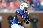 Southern Methodist Mustangs running back Traylon Shead (34) in action during the game between the Rutgers Scarlet Knights and the SMU Mustangs at the Gerald J. Ford Stadium in Dallas, Texas.  Rutgers leads SMU 21 to 7 at halftime.