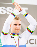 Adrian Teklinski of the Poland team celebrates winning the Men's Scratch Race Final as part of the 2017 UCI Track Cycling World Championships on 13 April 2017, in Hong Kong Velodrome, Hong Kong, China. Photo by Marcio Rodrigo Machado / Power Sport Images