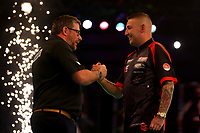 25th May 2021; Marshall Arena, Milton Keynes, Buckinghamshire, England; Professional Darts Corporation, Unibet Premier League Night 14 Milton Keynes; James Wade speaks with Nathan Aspinall after the 7-7 draw