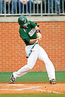 Brett Lang (6) of the Charlotte 49ers makes contact with the baseball during the game against the Virginia Commonwealth Rams at Robert and Mariam Hayes Stadium on March 30, 2013 in Charlotte, North Carolina.  The 49ers defeated the Rams 9-8 in game one of a double-header.  (Brian Westerholt/Four Seam Images)