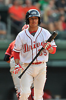 Shortstop Jeremy Rivera (35) of the Greenville Drive bats in a game against the Lakewood BlueClaws on Sunday, June 26, 2016, at Fluor Field at the West End in Greenville, South Carolina. Greenville won, 2-1. (Tom Priddy/Four Seam Images)