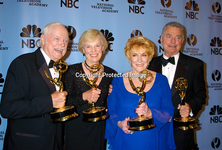 John Clarke, Rachel Ames, Jeanne Cooper and Ray McDonnell ..at the Daytime Emmy Awards on May 21, 2004 in the Press Room at Radio City Music Hall...Photo by Robin Platzer, Twin Images