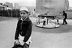 Asian Muslim boy playing children park Blackburn 1980s Lancashire 1983 UK