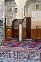 Fes, Morocco.  Prayer Hall of the Medersa Bou Inania, looking toward the Mihrab.