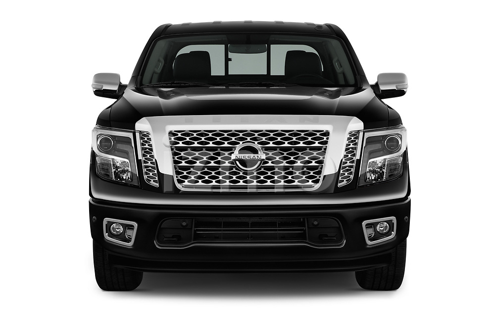 Car photography straight front view of a 2018 Nissan Titan Platinum-Reserve-Crew 4 Door Pickup Front View