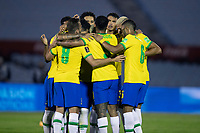 17th November 2020; Centenario Stadium, Montevideo, Uruguay; Fifa World Cup 2022 Qualifying football; Uruguay versus Brazil; Players of Brazil celebrate the scored goal by Arthur in the 34th minute 0-1