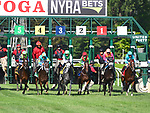 Rushing Fall (no. 6), ridden by Javier Castellano and trained by Chad Brown, wins the 35th running of the grade 2 Lake Placid Stakes for three year old fillies on August 18, 2018 at Saratoga Race Course in Saratoga Springs, New York. (Bob Mayberger/Eclipse Sportswire)