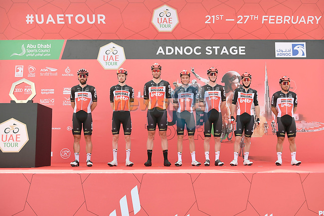 Lotto-Soudal at sign on before the start of Stage 1 of the 2021 UAE Tour the ADNOC Stage running 176km from Al Dhafra Castle to Al Mirfa, Abu Dhabi, UAE. 21st February 2021.  <br /> Picture: LaPresse/Fabio Ferrari | Cyclefile<br /> <br /> All photos usage must carry mandatory copyright credit (© Cyclefile | LaPresse/Fabio Ferrari)