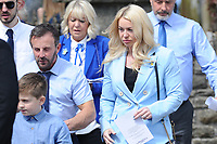 Pictured: Tatum Price (Mother) and Bryan Price (Father) of Carson leave the funeral at Gelligaer Church, in Gelligaer, Wales, UK Tuesday 07 May 2019<br /> Re: Funeral of 13 year old Carson Price at Gelligaer Church, in Gelligaer, Wales, UK.<br /> Schoolboy Carson Price was found at a park in Ystrad Mynach, south Wales at the start of the Easter school holidays.<br /> It is believed he had taken MDMA Donkey Kong tablets.