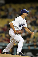 Los Angeles Dodgers pitcher Ted Lilly #29 pitches against the Pittsburgh Pirates at Dodger Stadium on September 17, 2011 in Los Angeles,California. Los Angeles defeated Pittsburgh 6-1.(Larry Goren/Four Seam Images)