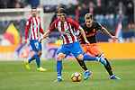 Filipe Luis of Atletico de Madrid competes for the ball with  Santiago Mina Lorenzo, Santi Mina, of Valencia CF during the match Atletico de Madrid vs Valencia CF, a La Liga match at the Estadio Vicente Calderon on 05 March 2017 in Madrid, Spain. Photo by Diego Gonzalez Souto / Power Sport Images
