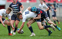 Wednesday 6th March 2019   Ulster Schools Cup - Semi Final 2<br /> <br /> Ethan McIlroy is tackled by Harry McMeekin during the Ulster Schools Cup semi-final between MCB and Wallace High School at Kingspan Stadium, Ravenhill Park, Belfast, Northern Ireland. Photo by John Dickson / DICKSONDIGITAL