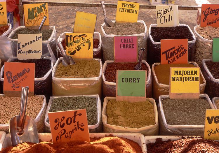 Asian, TUR, Turkey, Aegean, Kusadasi, Market Stall, Spice Rack