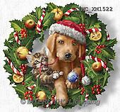 Marcello, CHRISTMAS ANIMALS, WEIHNACHTEN TIERE, NAVIDAD ANIMALES, paintings+++++,ITMCXM1522,#XA# ,dogs,puppies ,christmas wreath