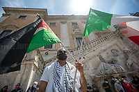 """Hatem Sandoga (Comunità Palestinese di Roma e Lazio).<br /> <br /> Rome, Italy. 29th May, 2021. Italian Antifascist organizations, Antifascist political parties, Trade Unions, Palestinian Community of Rome (Comunità Palestinese di Roma), WWII Partizans, citizens, led by ANPI (National Association of Italian Partizans, Members of the WWII Italian Resistance, 1.), held an emergency rally against a fascist demo held in a Central-Rome-nearby-square which was authorized by State Institutions with no regard for the Italian Antifascist Constitution and all the Victims of nazi and fascist regimes, including all the Victims of nazi and fascist concentration camps. From the ANPI press release: «The Anti-fascist associations of the Italian Resistance and the Liberation Struggle, with political, trade union and organizations, express indignation at the national demo promoted in Rome in Piazza SS Apostoli on May 29, 2021 by Casapound, launched using shamelessly nazi slogans such as that of """"blood and soil"""", referring to the same words of Hitler, Himmler and Goebbels to build the ideal foundation of the Shoah. The carrying out of the national demo of a declared fascist organization constitutes a very serious outrage to the founding values of the [Italian] Democratic Republic and to the principles enshrined in the Constitution born of anti-fascism, the Resistance and the Liberation Struggle, as well as a clear violation of the laws prohibiting propaganda and the reconstitution of the fascist party. We recall the memory of the victims and fallen in the fight against fascism that has bloodied this country and this city, Gold Medal for Military Valor (2.) for the facts of the Resistance awarded in July 2018 by the President of the Republic, in addition to that of the long trail of black [fascist] massacres that happened in the life of the [Italian] Republic, from Piazza Fontana, to Italicus [train], to Brescia, to Bologna station […]».<br /> <br /> 1. http://www.anpi.it<br /> 2. http"""