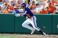 Third Baseman Richie Shaffer #8 runs to first during a  game against the Miami Hurricanes at Doug Kingsmore Stadium on March 31, 2012 in Clemson, South Carolina. The Tigers won the game 3-1. (Tony Farlow/Four Seam Images)..