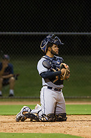 AZL Indians catcher Felix Fernandez (9) on defense against the AZL Dodgers on July 20, 2017 at Camelback Ranch in Glendale, Arizona. AZL Dodgers defeated the AZL Indians 10-9. (Zachary Lucy/Four Seam Images)