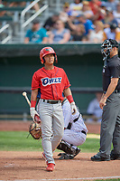 Kevin Arias (4) of the Orem Owlz at bat against the Idaho Falls Chukars at Melaleuca Field on July 14, 2019 in Idaho Falls, Idaho. The Owlz defeated the Chukars 6-2. (Stephen Smith/Four Seam Images)