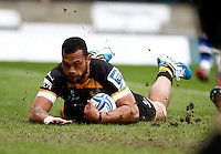 Photo: Richard Lane/Richard Lane Photography. London Wasps v Bath Rugby. Amlin Challenge Cup Semi Final. 27/04/2014. Wasps' Will Helu dives in for a try.