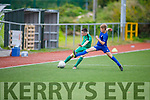 Kerrys Ronan Carroll under pressure from Darragh Pollard of Waterford in the u13 Soccer league