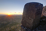 Cougar Guardian Stone at Sunset, Three Rivers Petroglyph Site, New Mexico
