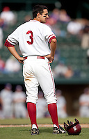 STANFORD, CA - May 7, 2011: Kenny Diekroeger of Stanford baseball stands on the first base line during a Washington pitching change during Stanford's game against Washington at Sunken Diamond. Stanford won 8-7.