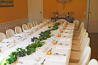 The table set for lunch and wine tasting for visitors - Chateau Belgrave, Haut-Medoc, Grand Crus Classee 1855