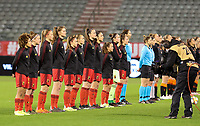 Belgian players pictured during the warm up before a friendly female soccer game between the national teams of Belgium , called the Red Flames and The Netherlands , called the Oranje Leeuwinnen in a pre - bid tournament called Three Nations One Goal with the national teams from Belgium , The Netherlands and Germany towards a bid for the hosting of the 2027 FIFA Women's World Cup , on Thursday 18 th of February 2021  in Brussels , Belgium . PHOTO SPORTPIX.BE | SPP | SEVIL OKTEM