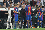Sergio Ramos of Real Madrid reacts Gerard Pique of FC Barcelona during the match of La Liga between Real Madrid and Futbol Club Barcelona at Santiago Bernabeu Stadium  in Madrid, Spain. April 23, 2017. (ALTERPHOTOS)