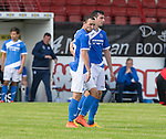 Glentoran v St Johnstone…. 09.07.16  The Oval, Belfast  Pre-Season Friendly<br />Chris Kane celebrates his goal with Joe Shaughnessy<br />Picture by Graeme Hart.<br />Copyright Perthshire Picture Agency<br />Tel: 01738 623350  Mobile: 07990 594431