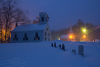 Kensington, NH At Blue Hour During A February Snowstorm