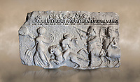 Roman relief sculpture of the Dionysus Festival. Roman 2nd century AD, Hierapolis Theatre.. Hierapolis Archaeology Museum, Turkey. Against an art background