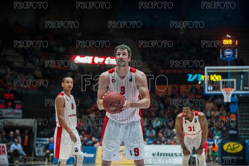 VALENCIA, SPAIN - NOVEMBER 18: Andrew Panko during EUROCUP match between Valencia Basket Club and CAI SLUC Nancy at Fonteta Stadium on November 18, 2015 in Valencia, Spain