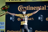 Wout van Aert (BEL/Jumbo - Visma) wins the bunch sprint into Privas against the fastest names in the peloton and receives the honours that go with such a feat<br /> <br /> Stage 5 from Gap to Privas (183km)<br /> <br /> 107th Tour de France 2020 (2.UWT)<br /> (the 'postponed edition' held in september)<br /> <br /> ©kramon