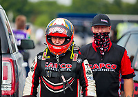 Jul 19, 2020; Clermont, Indiana, USA; NHRA top fuel driver Billy Torrence and crew during the Summernationals at Lucas Oil Raceway. Mandatory Credit: Mark J. Rebilas-USA TODAY Sports
